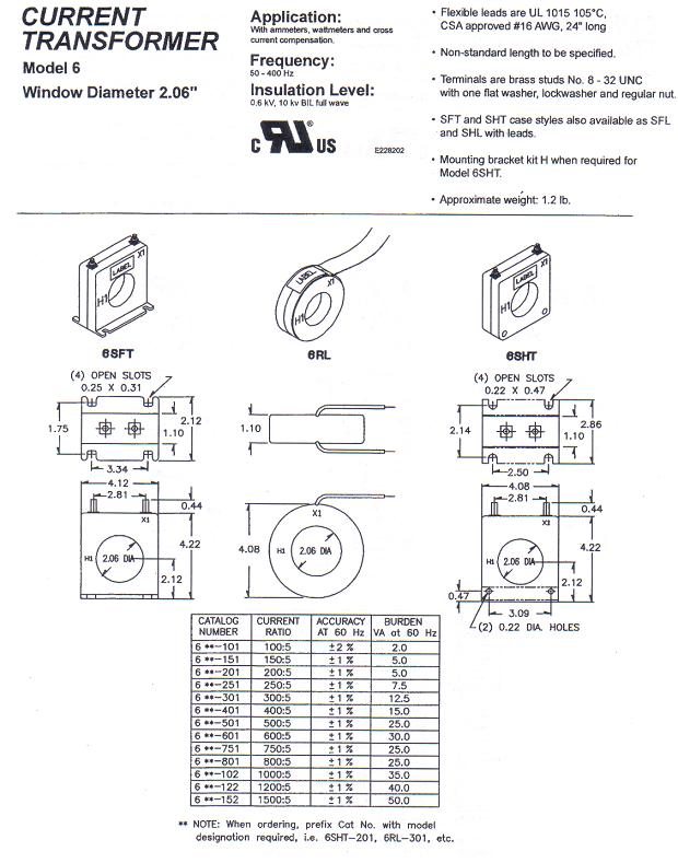 6RL, 6SFT, 6SHT Current Transformer